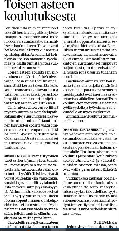 Toisen asteen koulutus-Haapavesi-lehti 27.2